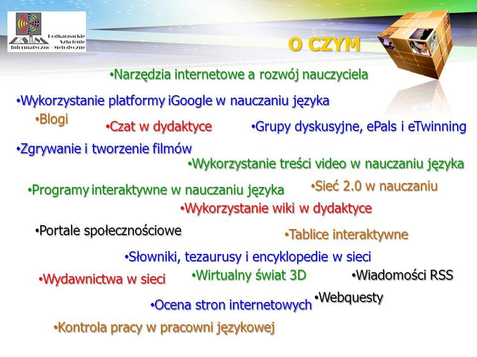 LOGO Narzędzia internetowe a rozwój nauczyciela Narzędzia internetowe a rozwój nauczyciela Wykorzystanie platformy iGoogle w nauczaniu języka Wykorzys