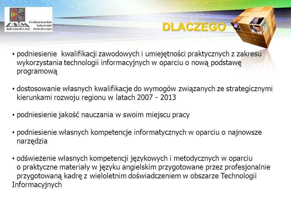 LOGO DLACZEGO podniesienie kwalifikacji zawodowych i umiejętności praktycznych z zakresu wykorzystania technologii informacyjnych w oparciu o nową pod