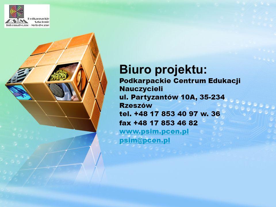 Biuro projektu: Podkarpackie Centrum Edukacji Nauczycieli ul. Partyzantów 10A, 35-234 Rzeszów tel. +48 17 853 40 97 w. 36 fax +48 17 853 46 82 www.psi