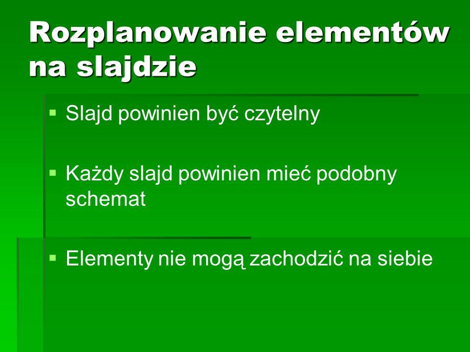 Rozplanowanie elementów na slajdzie Slajd powinien być czytelny Każdy slajd powinien mieć podobny schemat Elementy nie mogą zachodzić na siebie