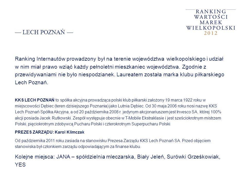 LECH POZNAŃ Ranking Internautów prowadzony był na terenie województwa wielkopolskiego i udział w nim miał prawo wziąć każdy pełnoletni mieszkaniec woj