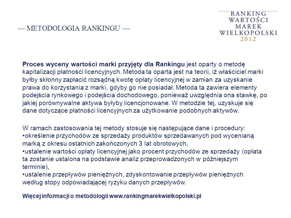 METODOLOGIA RANKINGU Proces wyceny wartości marki przyjęty dla Rankingu jest oparty o metodę kapitalizacji płatności licencyjnych. Metoda ta oparta je