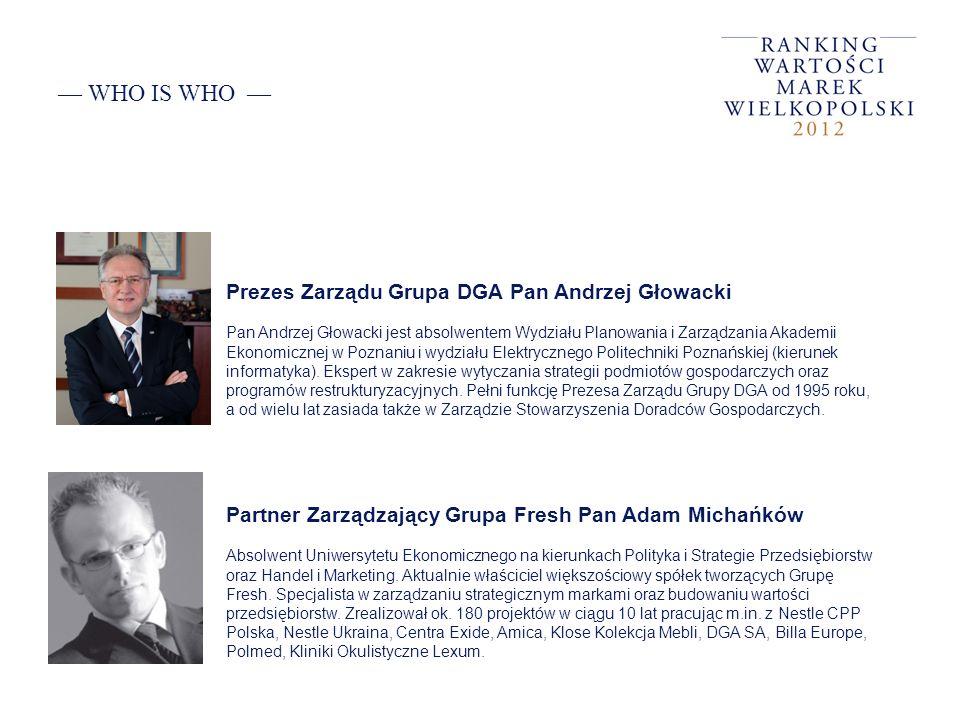 WHO IS WHO Partner Zarządzający Grupa Fresh Pan Adam Michańków Absolwent Uniwersytetu Ekonomicznego na kierunkach Polityka i Strategie Przedsiębiorstw