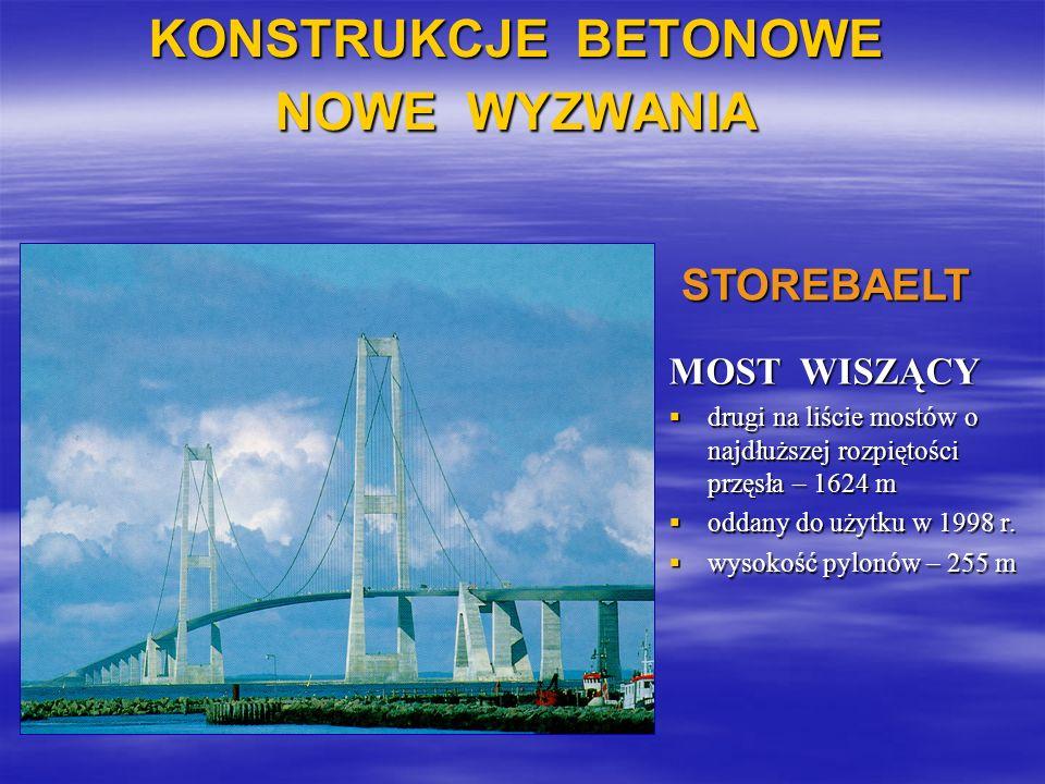 KONSTRUKCJE BETONOWE NOWE WYZWANIA MOST WISZĄCY drugi na liście mostów o najdłuższej rozpiętości przęsła – 1624 m drugi na liście mostów o najdłuższej