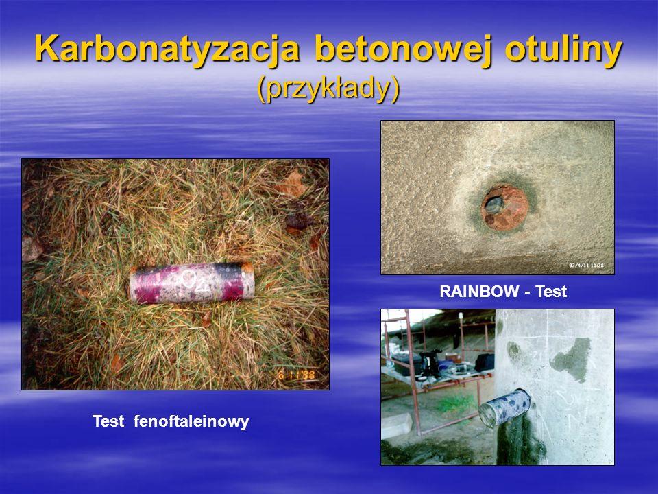 Karbonatyzacja betonowej otuliny (przykłady) RAINBOW - Test Test fenoftaleinowy