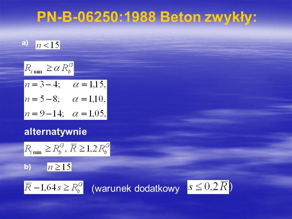 PN-B-06250:1988 Beton zwykły: alternatywnie a) b) (warunek dodatkowy )