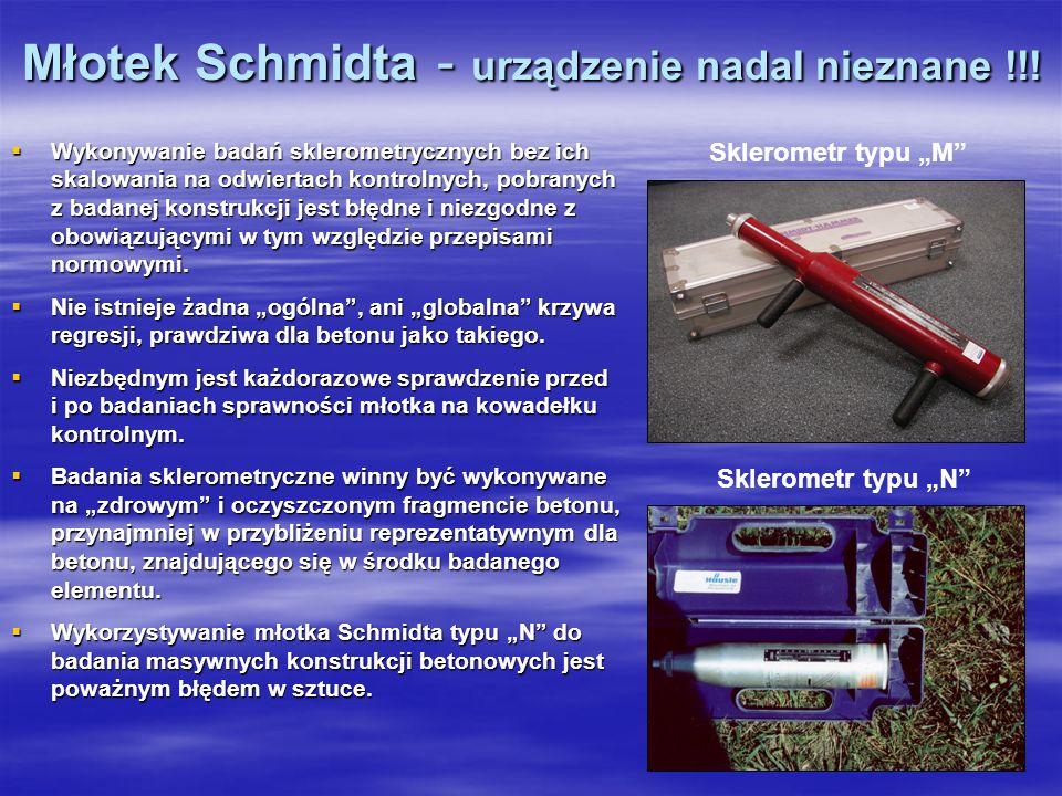 Młotek Schmidta - urządzenie nadal nieznane !!! Wykonywanie badań sklerometrycznych bez ich skalowania na odwiertach kontrolnych, pobranych z badanej