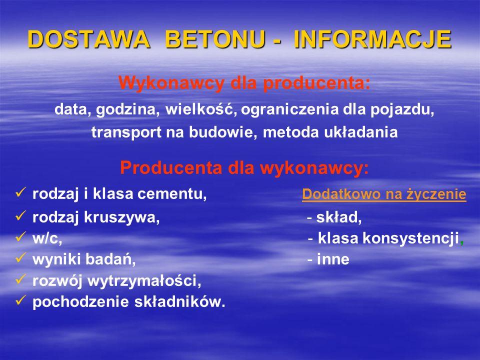 DOSTAWA BETONU - INFORMACJE Wykonawcy dla producenta: data, godzina, wielkość, ograniczenia dla pojazdu, transport na budowie, metoda układania Produc