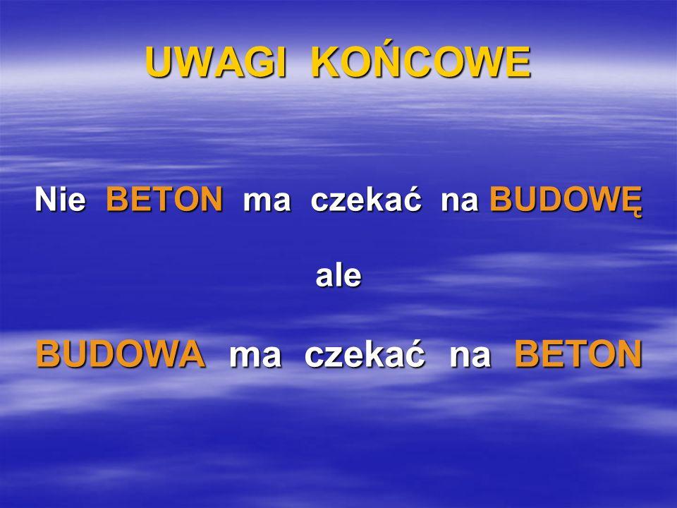 UWAGI KOŃCOWE Nie BETON ma czekać na BUDOWĘ ale BUDOWA ma czekać na BETON