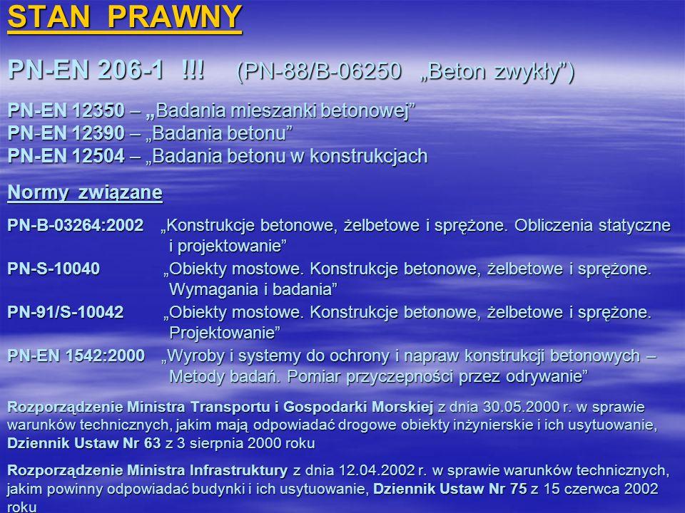 STAN PRAWNY PN-EN 206-1 !!! (PN-88/B-06250 Beton zwykły) PN-EN 12350 – Badania mieszanki betonowej PN-EN 12390 – Badania betonu PN-EN 12504 – Badania