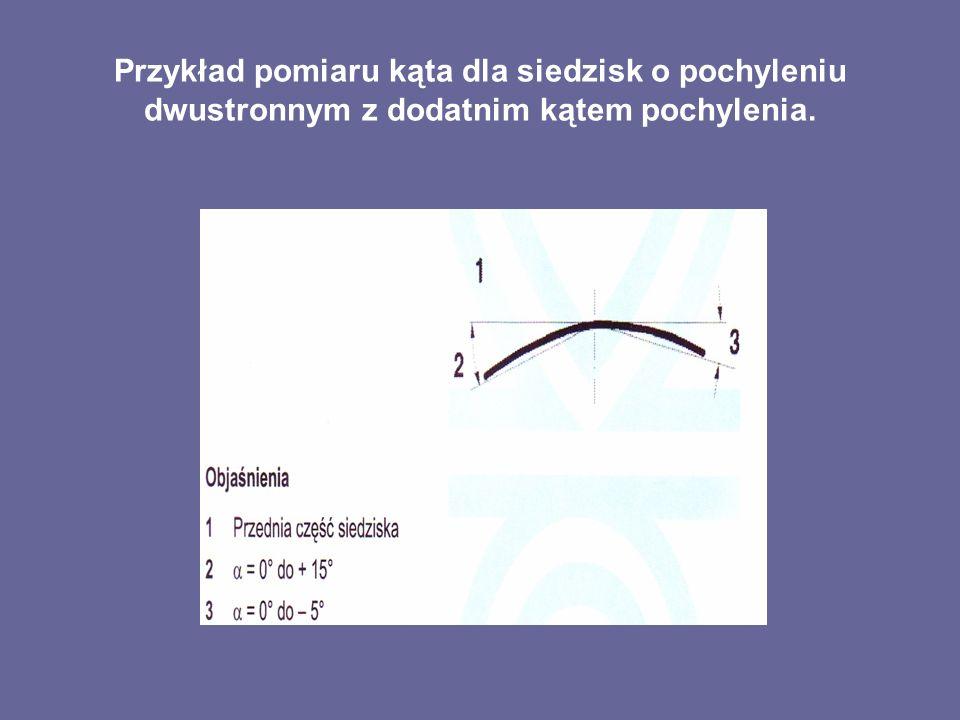 Przykład pomiaru kąta dla siedzisk o pochyleniu dwustronnym z dodatnim kątem pochylenia.