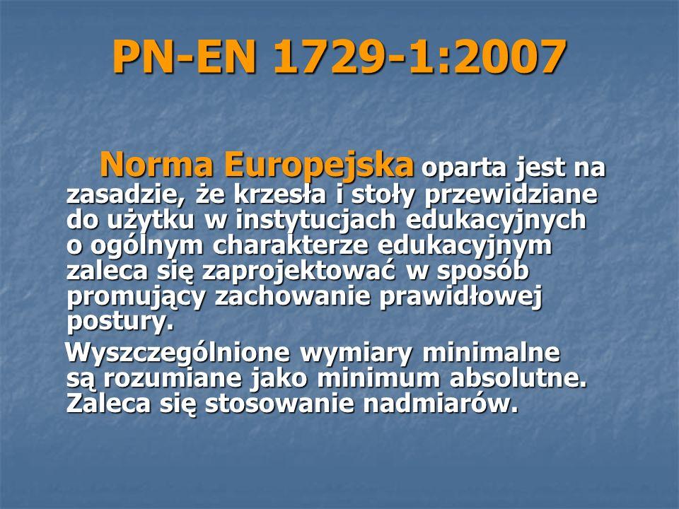 PN-EN 1729-1:2007 Norma Europejska oparta jest na zasadzie, że krzesła i stoły przewidziane do użytku w instytucjach edukacyjnych o ogólnym charakterz