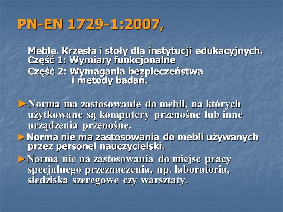 PN-EN 1729-1:2007, Meble. Krzesła i stoły dla instytucji edukacyjnych. Część 1: Wymiary funkcjonalne Meble. Krzesła i stoły dla instytucji edukacyjnyc
