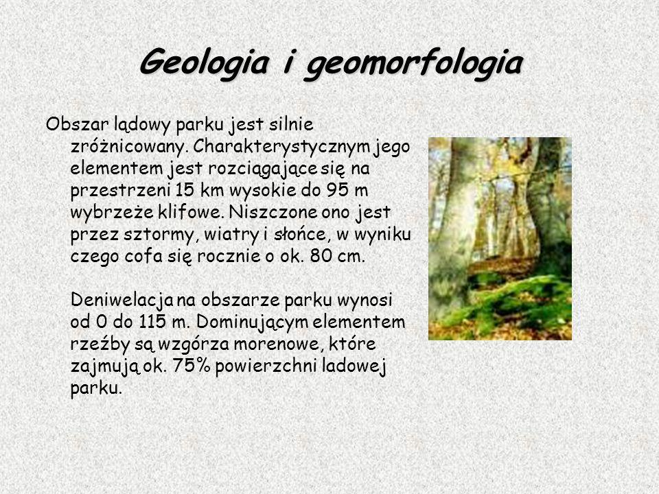 Geologia i geomorfologia Obszar lądowy parku jest silnie zróżnicowany. Charakterystycznym jego elementem jest rozciągające się na przestrzeni 15 km wy