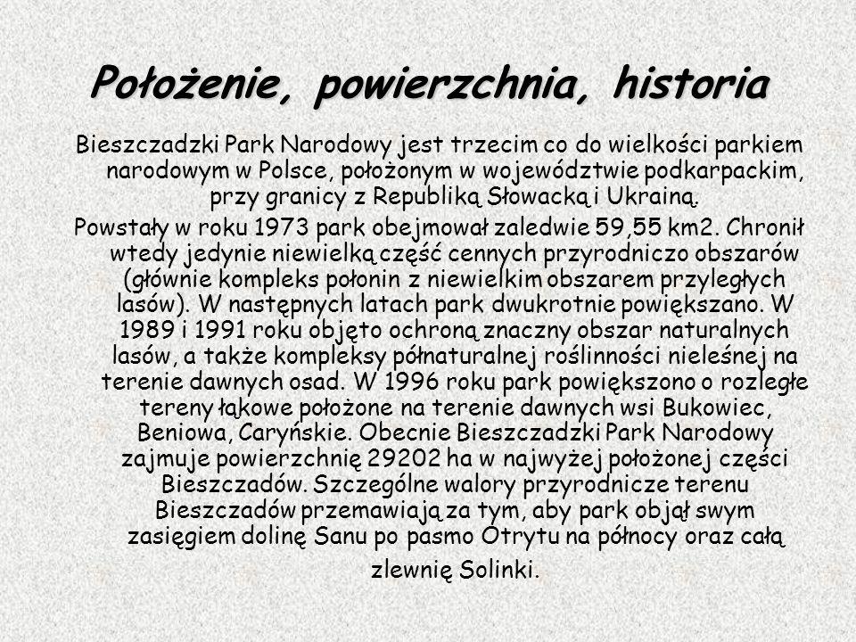 Położenie, powierzchnia, historia Bieszczadzki Park Narodowy jest trzecim co do wielkości parkiem narodowym w Polsce, położonym w województwie podkarp