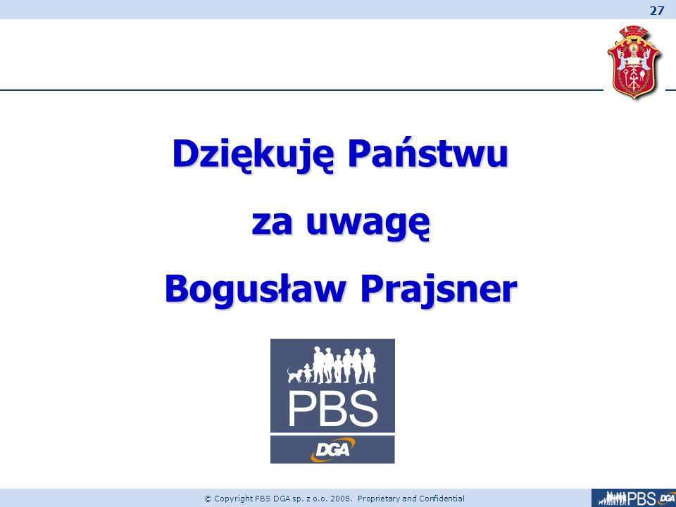 27 © Copyright PBS DGA sp. z o.o. 2008. Proprietary and Confidential Dziękuję Państwu za uwagę Bogusław Prajsner