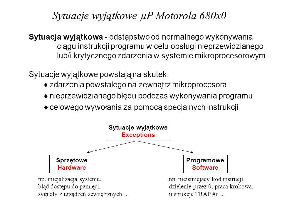 Sytuacje wyjątkowe Exceptions Sprzętowe Hardware Programowe Software Sytuacje wyjątkowe μP Motorola 680x0 Sytuacja wyjątkowa - odstępstwo od normalnego wykonywania ciągu instrukcji programu w celu obsługi nieprzewidzianego lub/i krytycznego zdarzenia w systemie mikroprocesorowym Sytuacje wyjątkowe powstają na skutek: zdarzenia powstałego na zewnątrz mikroprocesora nieprzewidzianego błędu podczas wykonywania programu celowego wywołania za pomocą specjalnych instrukcji np.