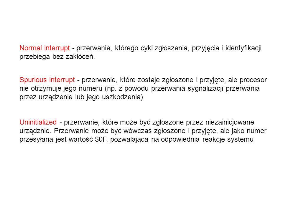 Normal interrupt - przerwanie, którego cykl zgłoszenia, przyjęcia i identyfikacji przebiega bez zakłóceń.