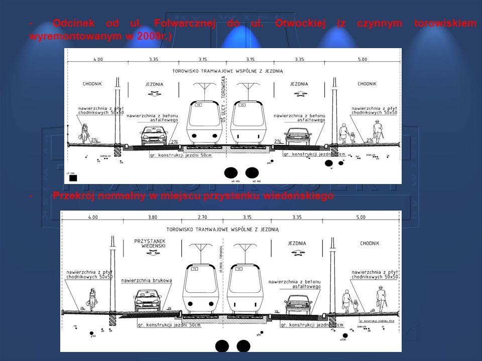 -Odcinek od ul. Folwarcznej do ul. Otwockiej (z czynnym torowiskiem wyremontowanym w 2009r.) -Przekrój normalny w miejscu przystanku wiedeńskiego