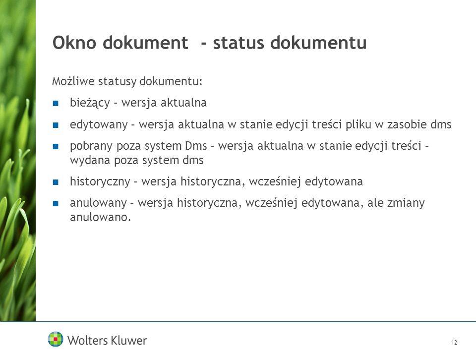 12 Okno dokument - status dokumentu Możliwe statusy dokumentu: bieżący – wersja aktualna edytowany – wersja aktualna w stanie edycji treści pliku w za