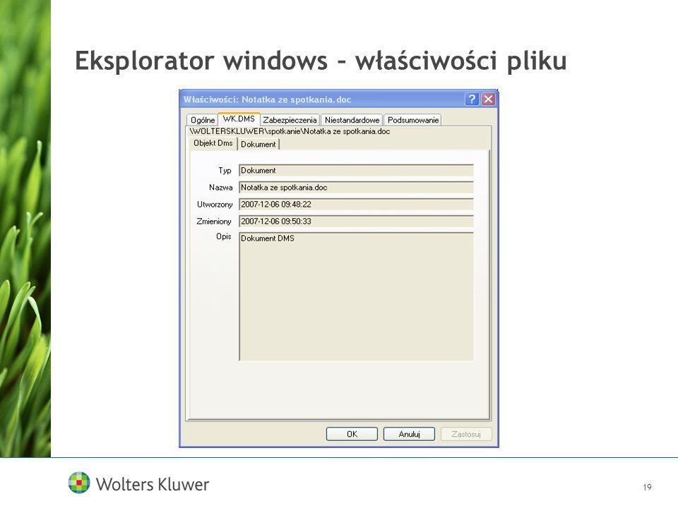 19 Eksplorator windows – właściwości pliku