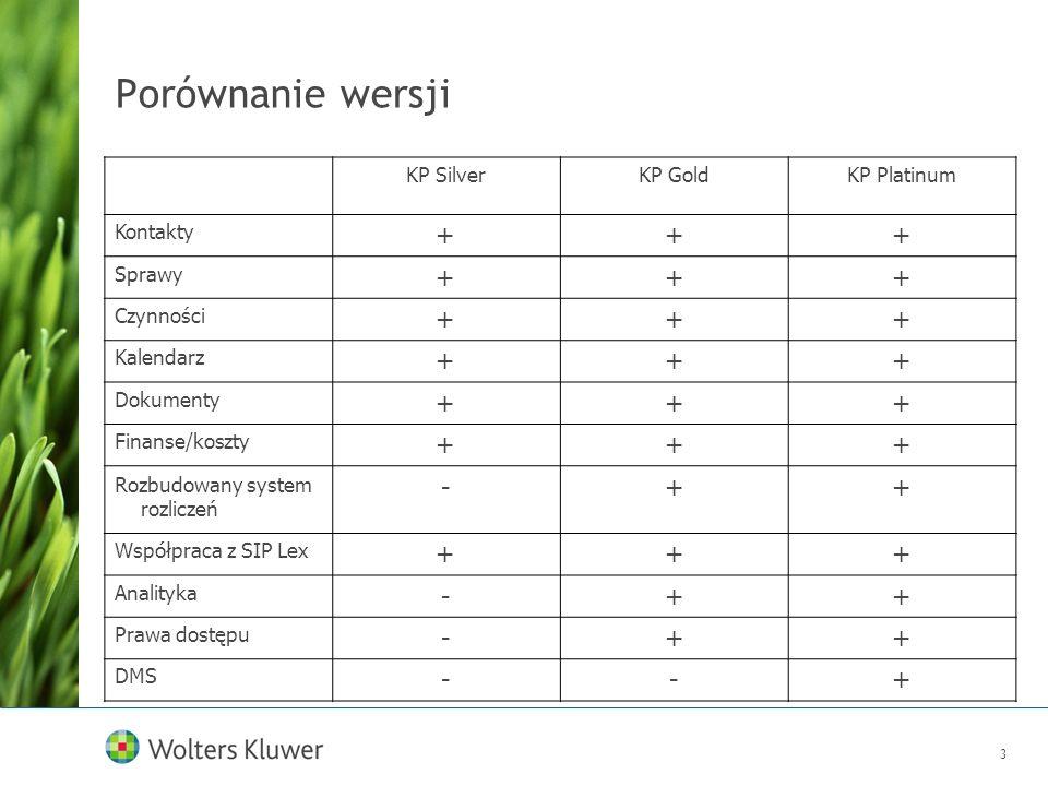 3 Porównanie wersji KP SilverKP GoldKP Platinum Kontakty +++ Sprawy +++ Czynności +++ Kalendarz +++ Dokumenty +++ Finanse/koszty +++ Rozbudowany syste