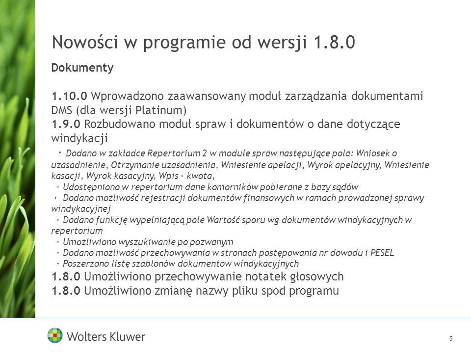 6 Nowości w programie od wersji 1.8.0 Finanse/Koszty 1.10.0 Wprowadzono opisy dla faktury obcojęzycznej 1.10.0 Dodano podsumowanie wg stawek VAT na dokumencie korekty 1.9.1 Rozdzielono na wydruku korekty pozycje przed i po korekcie 1.9.0 Dodano możliwość przeglądu faktur z okna kontaktu 1.9.0 Wprowadzono znacznik dla kosztów Obciążyć klienta 1.9.0 Wprowadzono obsługę kosztów w wersji SILVER 1.8.1 Dodano informację na raporcie finansowym o ilości dni po terminie od daty płatności danej faktury 1.8.0 Zmieniono system rozliczeń ·wprowadzenie możliwości definiowana systemów rozliczeń zarówno na poziomie kontaktu jak i sprawy; ·wprowadzono możliwość rozliczania w ramach jednego ryczałtu kilku spraw; ·wprowadzono możliwość definiowania różnych limitów w rozliczeniu ryczałtowym z limitem godzin dla różnych spraw; ·ujednolicono interfejs graficzny rozliczeń finansowych dla kontaktów i spraw