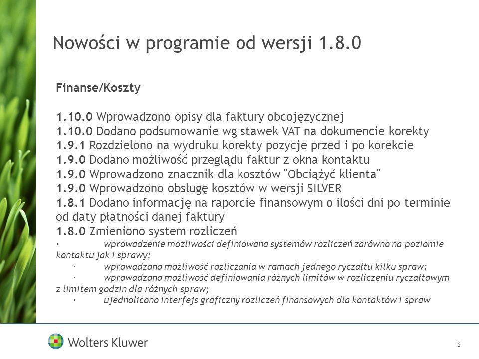 7 Nowości w programie od wersji 1.8.0 Inne 1.10.0 Wprowadzono sprawdzanie pisowni podczas edycji opisów czynności, terminów, kosztów i nazw spraw 1.10.0 Wprowadzono możliwość zaznaczania wielu pozycji w drzewkach na głównych oknach programu 1.10.0 Umożliwiono zapamiętywanie porządku kolumn w tabelach 1.9.0 Wprowadzono kreator pierwszego uruchomienia 1.9.0 Rozbudowano moduł biblioteczny o pobieranie danych z Biblioteki Narodowej 1.8.0 Wprowadzono zmiany w prawach dostępu (edycja czynności wraz z danymi do faktury) Baza przykładowa