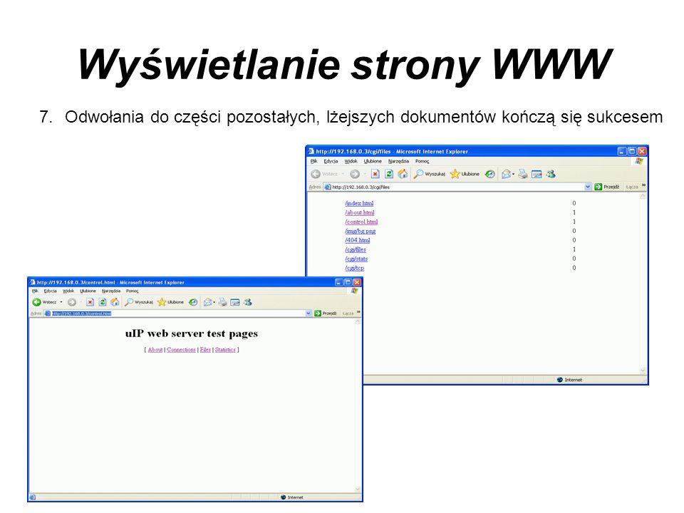 Wyświetlanie strony WWW 7.Odwołania do części pozostałych, lżejszych dokumentów kończą się sukcesem