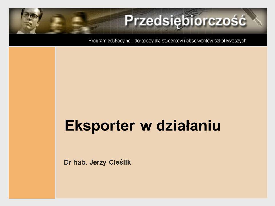 PRZEDSIĘBIORCZOŚĆ J.Cieślik Przedsiębiorczość międzynarodowa w Europie 32 Akredytywa dokumentowa Eksporter Importer Bank eksportera Bank importera dokumenty płatność Zlec.otwarcia akredytywy Przedstawienie do wykupu Akredytywa Potwierdzona