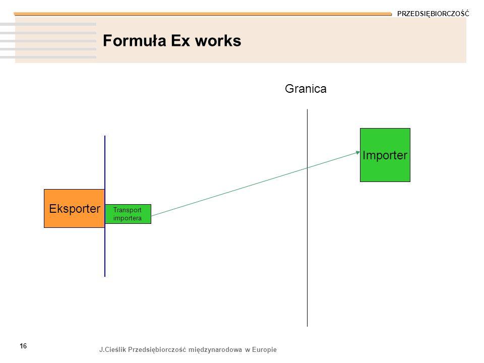 PRZEDSIĘBIORCZOŚĆ J.Cieślik Przedsiębiorczość międzynarodowa w Europie 16 Formuła Ex works Granica Eksporter Transport importera Importer