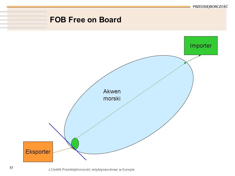 PRZEDSIĘBIORCZOŚĆ J.Cieślik Przedsiębiorczość międzynarodowa w Europie 17 FOB Free on Board Eksporter Importer Akwen morski