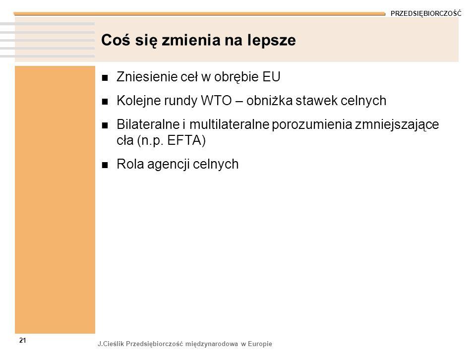 PRZEDSIĘBIORCZOŚĆ J.Cieślik Przedsiębiorczość międzynarodowa w Europie 21 Coś się zmienia na lepsze Zniesienie ceł w obrębie EU Kolejne rundy WTO – ob