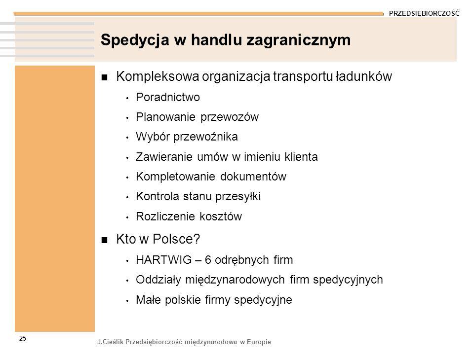 PRZEDSIĘBIORCZOŚĆ J.Cieślik Przedsiębiorczość międzynarodowa w Europie 25 Spedycja w handlu zagranicznym Kompleksowa organizacja transportu ładunków P