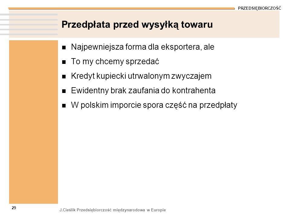 PRZEDSIĘBIORCZOŚĆ J.Cieślik Przedsiębiorczość międzynarodowa w Europie 29 Przedpłata przed wysyłką towaru Najpewniejsza forma dla eksportera, ale To m