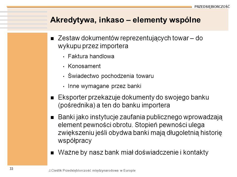PRZEDSIĘBIORCZOŚĆ J.Cieślik Przedsiębiorczość międzynarodowa w Europie 33 Akredytywa, inkaso – elementy wspólne Zestaw dokumentów reprezentujących tow