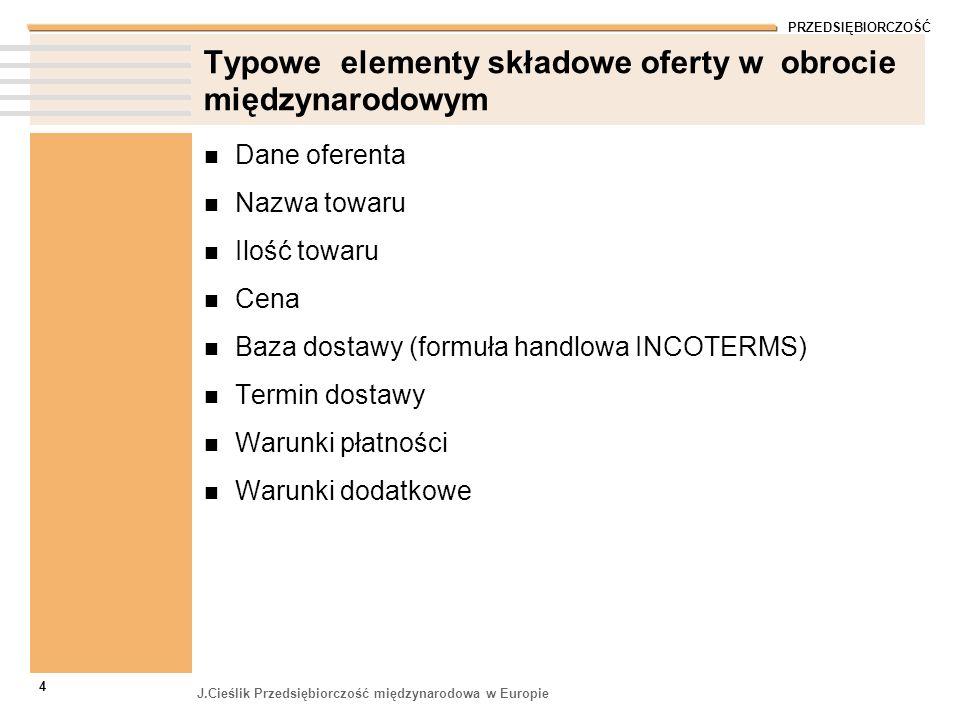 PRZEDSIĘBIORCZOŚĆ J.Cieślik Przedsiębiorczość międzynarodowa w Europie 4 Typowe elementy składowe oferty w obrocie międzynarodowym Dane oferenta Nazwa
