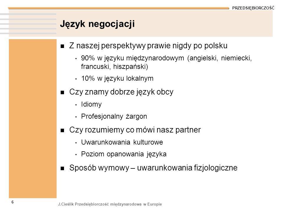 PRZEDSIĘBIORCZOŚĆ J.Cieślik Przedsiębiorczość międzynarodowa w Europie 6 Język negocjacji Z naszej perspektywy prawie nigdy po polsku 90% w języku mię