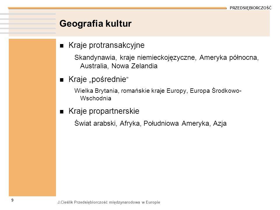 PRZEDSIĘBIORCZOŚĆ J.Cieślik Przedsiębiorczość międzynarodowa w Europie 9 Geografia kultur Kraje protransakcyjne Skandynawia, kraje niemieckojęzyczne,
