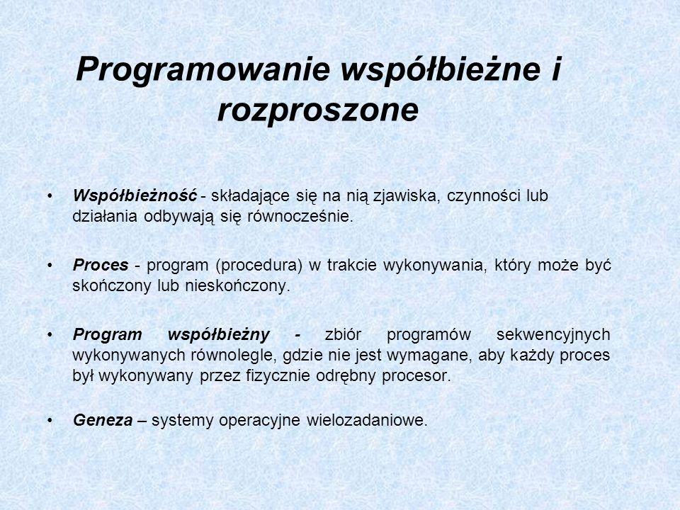 Programowanie współbieżne i rozproszone Współbieżność - składające się na nią zjawiska, czynności lub działania odbywają się równocześnie. Proces - pr