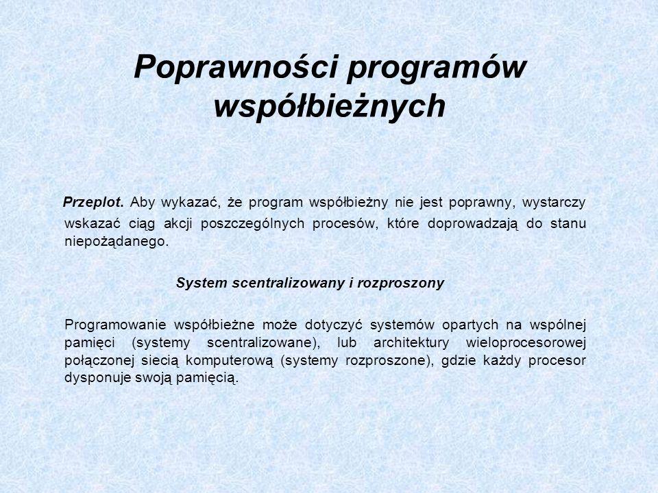 Poprawności programów współbieżnych Przeplot. Aby wykazać, że program współbieżny nie jest poprawny, wystarczy wskazać ciąg akcji poszczególnych proce