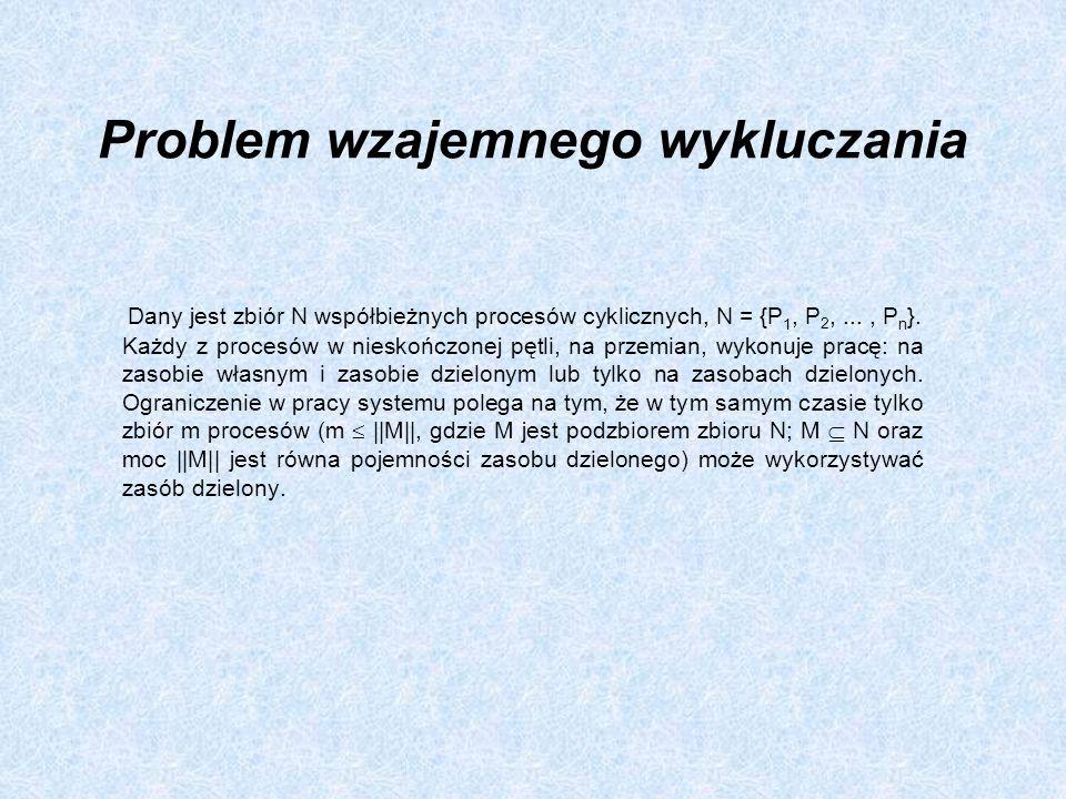 Problem wzajemnego wykluczania Dany jest zbiór N współbieżnych procesów cyklicznych, N = {P 1, P 2,..., P n }. Każdy z procesów w nieskończonej pętli,