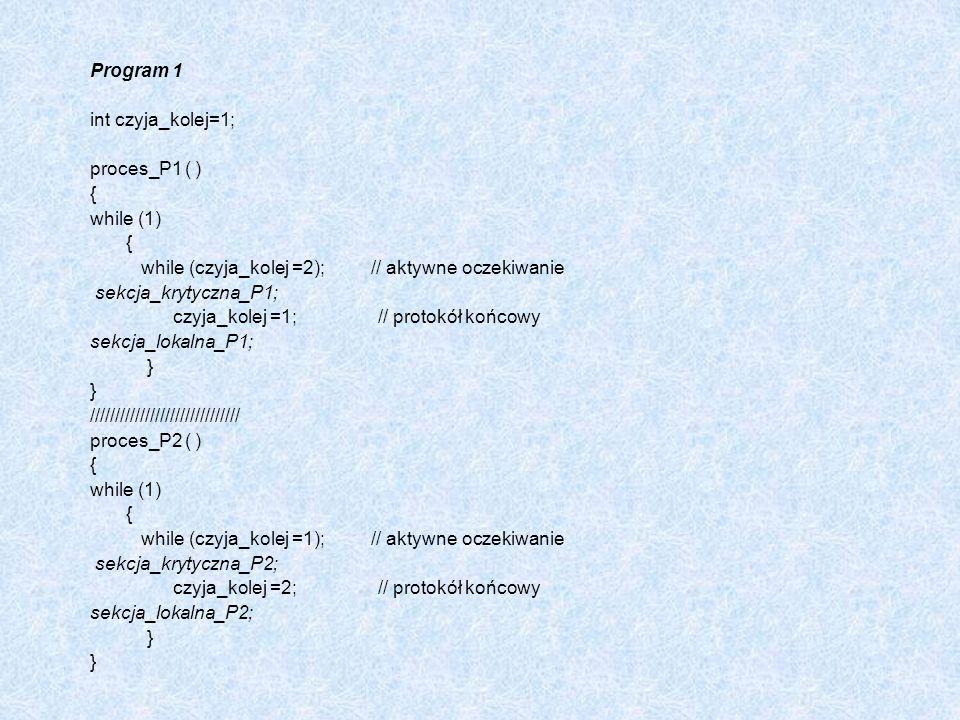 Program 1 int czyja_kolej=1; proces_P1 ( ) { while (1) { while (czyja_kolej =2); // aktywne oczekiwanie sekcja_krytyczna_P1; czyja_kolej =1; // protok