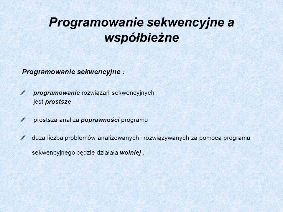 Programowanie współbieżne: możliwość tworzenia systemów komputerowych (programów współbieżnych) w sposób jak najbardziej efektywny, programowania współbieżne jest znacznie trudniejsze niż programowania sekwencyjne, trudniejsze jest dowodzenie poprawności programów współbieżnych (skomplikowana analiza poprawności programu), współbieżność wymaga uwzględnienia trudnych do opisania zależności czasowych występujących pomiędzy poszczególnymi procesami, brakuje metod testowych umożliwiających wykrywanie błędów synchronizacji, konieczność specyfikacji (określenia) instrukcji, które mogą być wykonywane jednocześnie (problem wzajemnego wykluczania, sortowanie współbieżne tablic),