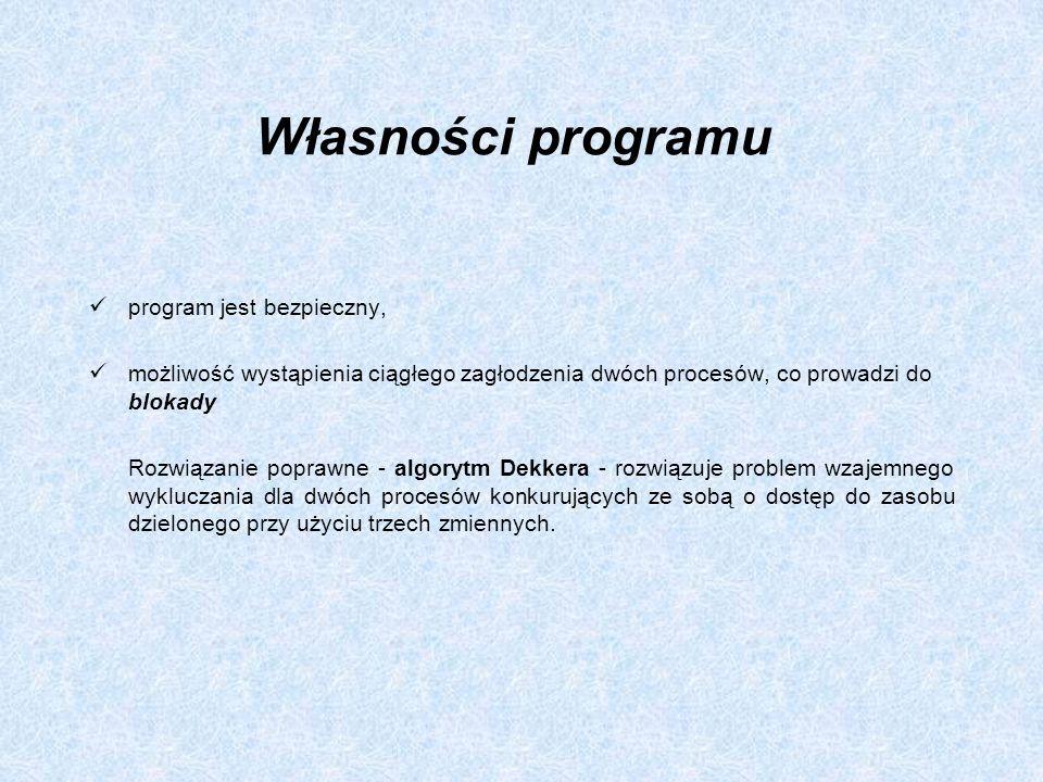 Własności programu program jest bezpieczny, możliwość wystąpienia ciągłego zagłodzenia dwóch procesów, co prowadzi do blokady Rozwiązanie poprawne - a