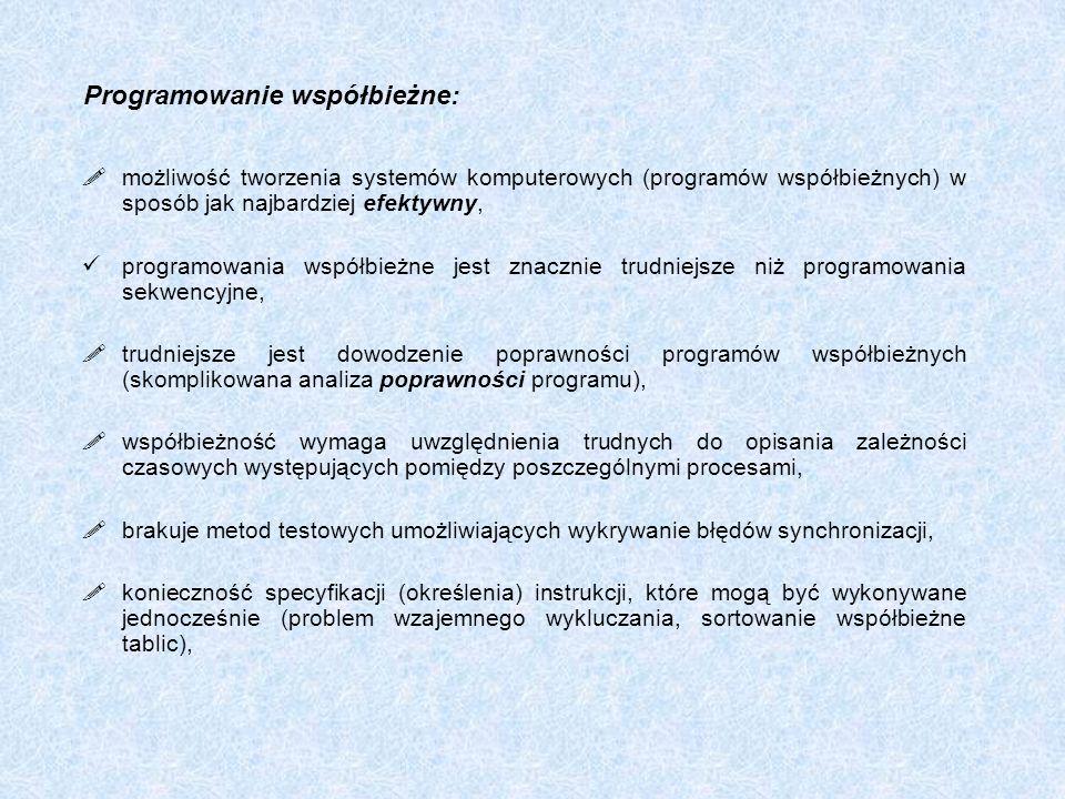 Programowanie współbieżne: możliwość tworzenia systemów komputerowych (programów współbieżnych) w sposób jak najbardziej efektywny, programowania wspó