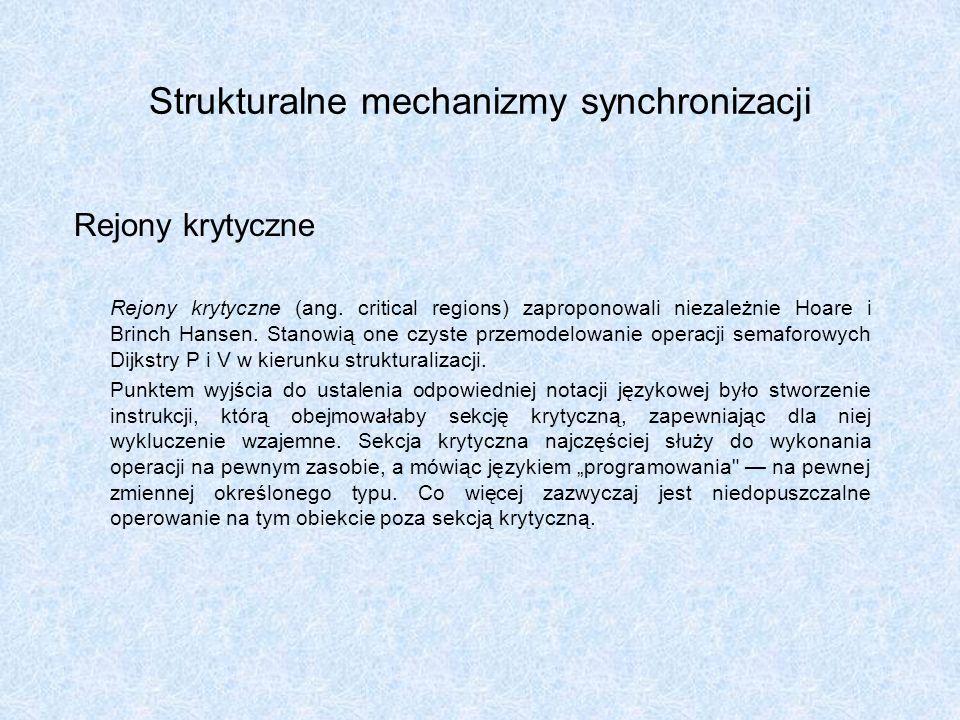 Strukturalne mechanizmy synchronizacji Rejony krytyczne Rejony krytyczne (ang. critical regions) zaproponowali niezależnie Hoare i Brinch Hansen. Stan