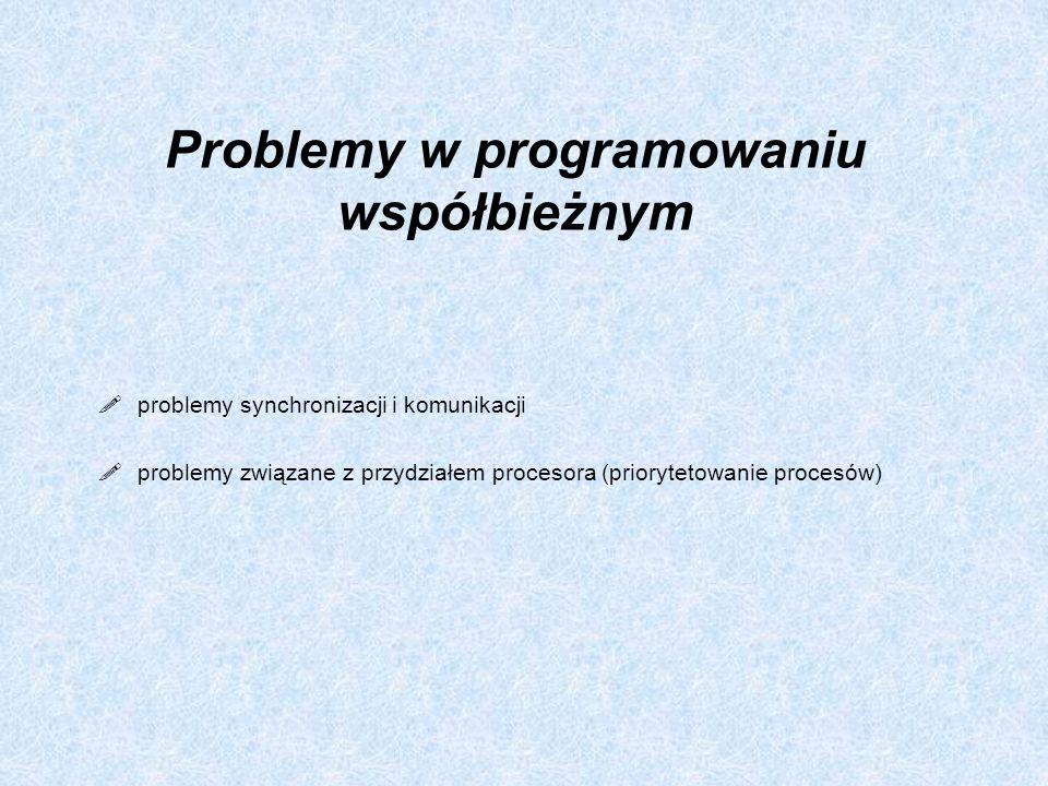 Program 2 int k1=1, k2 =1; proces_P1 ( ) { while (1) { while (k2 =0); // aktywne oczekiwanie k1=0; sekcja_krytyczna_P1; k1=1; // protokół końcowy sekcja_lokalna_P1; } ////////////////////////////// proces_P2 ( ) { while (1) { while (k1 =0); // aktywne oczekiwanie k2=0; sekcja_krytyczna_P2; k2=1; // protokół końcowy sekcja_lokalna_P2; }