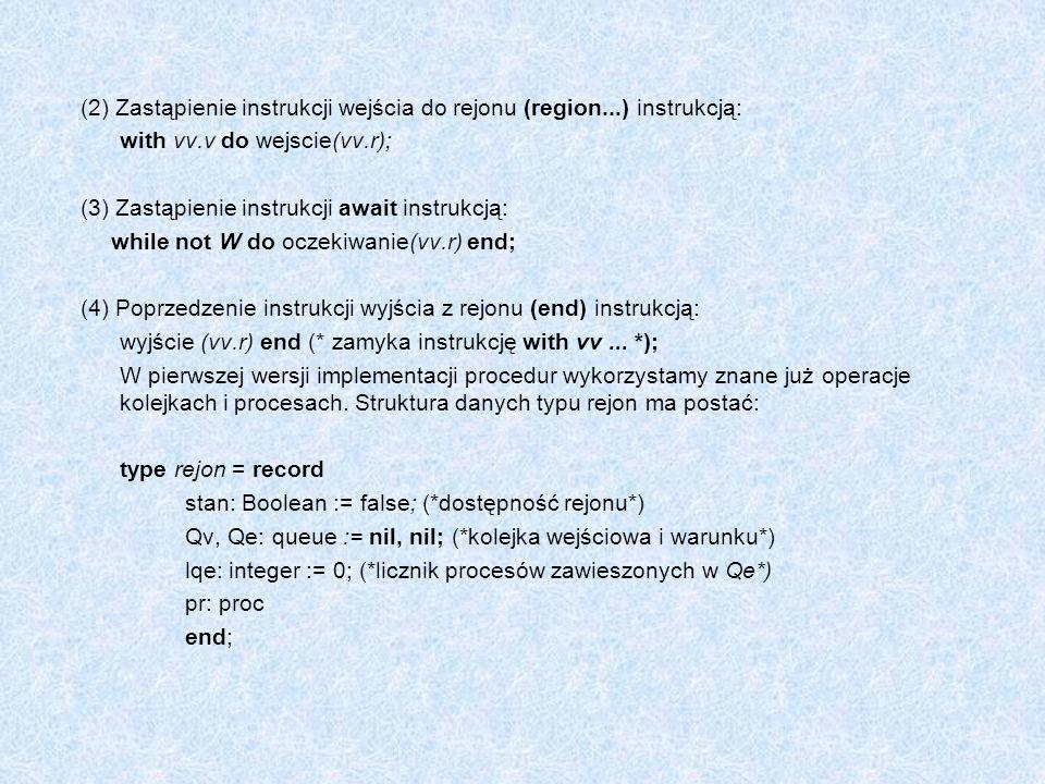 (2) Zastąpienie instrukcji wejścia do rejonu (region...) instrukcją: with vv.v do wejscie(vv.r); (3) Zastąpienie instrukcji await instrukcją: while no
