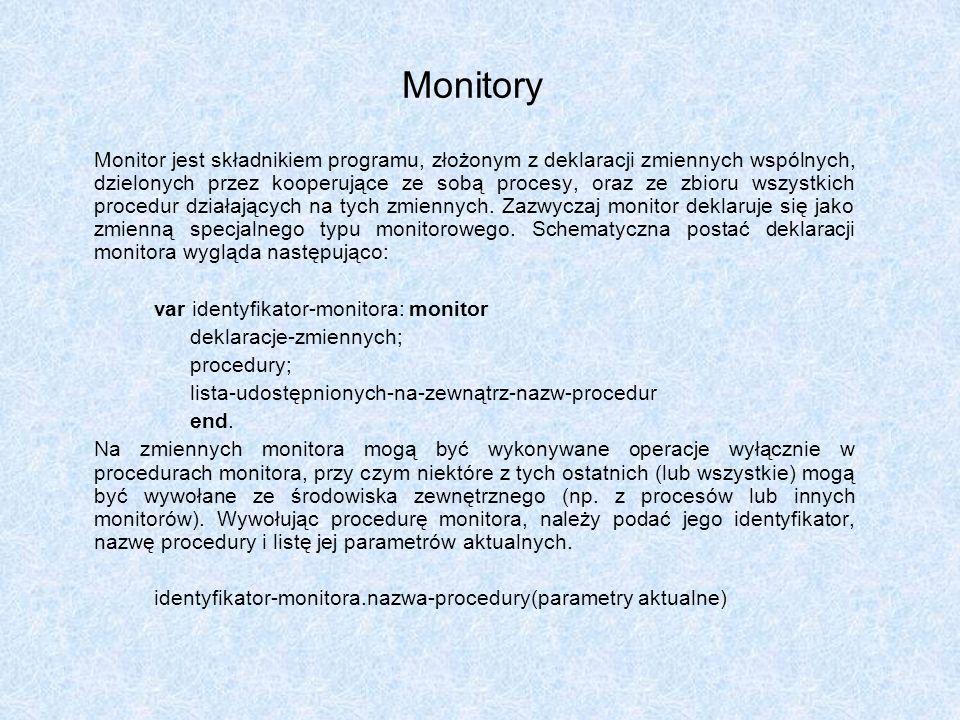 Monitory Monitor jest składnikiem programu, złożonym z deklaracji zmiennych wspólnych, dzielonych przez kooperujące ze sobą procesy, oraz ze zbioru ws